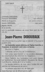 In Memoriam Jean-Pierre Deroubaix sénateur n° 36285
